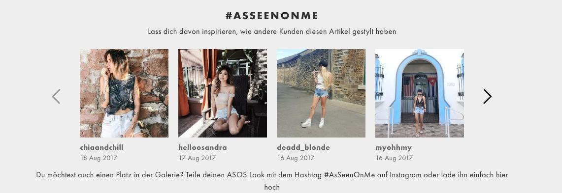 #asseenonme auf der Website von Asos