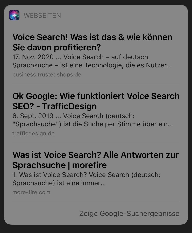 was ist voice search siri screenshot