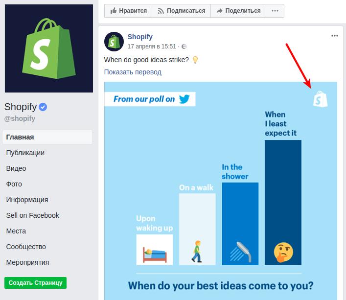 Shopify Logo und Firmendesigns auf der Facebook Page
