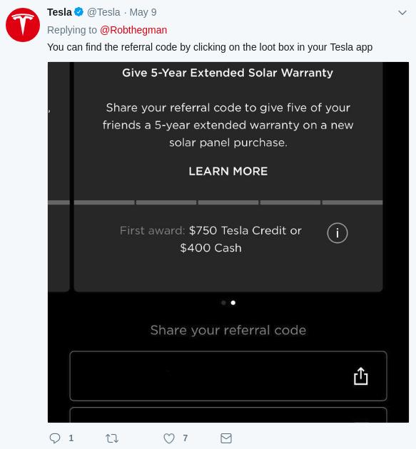 Tweet von Tesla mit Vermarktung der Tesla App