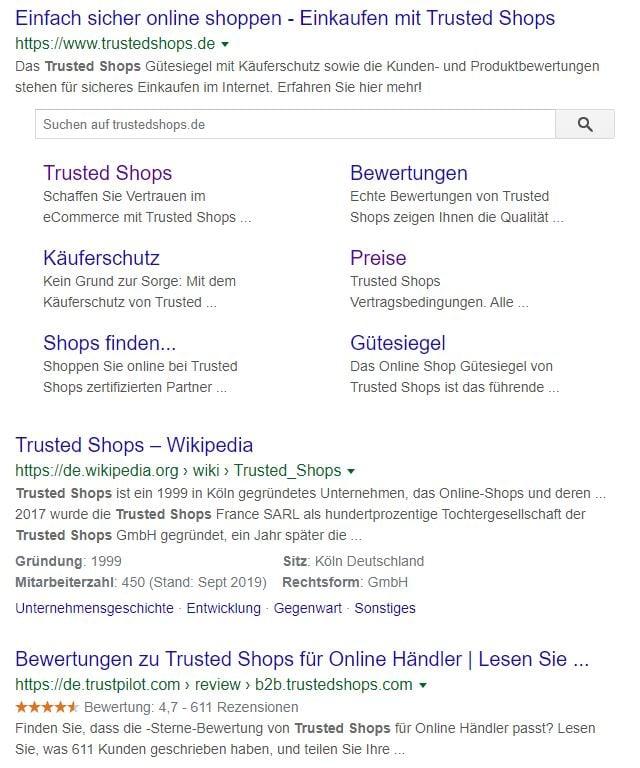 Suchergebnisse Trusted Shops
