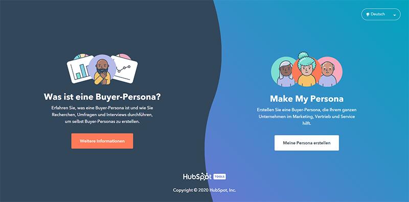 Webseite von Hubspot, auf der eine Buyer Persona erstellt werden kann.