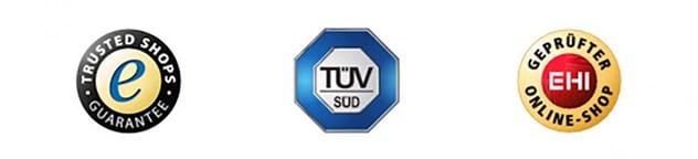 Drei verschiedene Online-Shop Siegel sind abgebildet: Von Trusted Shops, TÜV Süd und EHI.