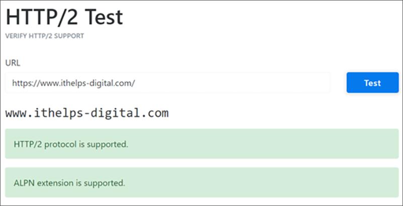 Der Ausschnitt zeigt einen HTTP/2 Test.