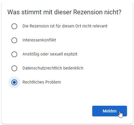 Google Bewertung melden