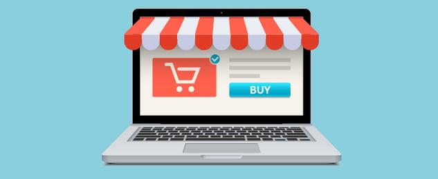 Ein Laptop, auf dessen Bildschirm die Produktseite eines Online-Shop geöffnet ist.