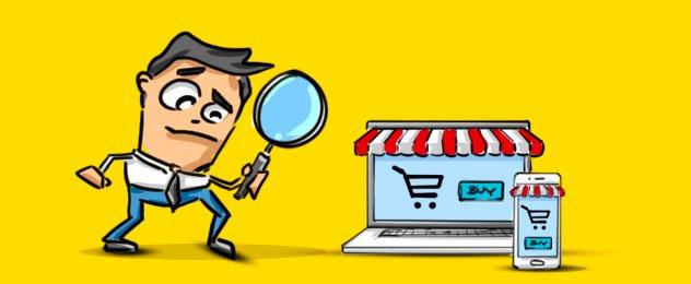 In einer Grafik untersucht ein Mann mit einer Lupe einen Online-Shop, der auf einem Laptop und einem Smartphone geöffnet ist.