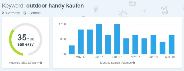 Screenshot KWFinder mit Keyword Outdoor Handy kaufen