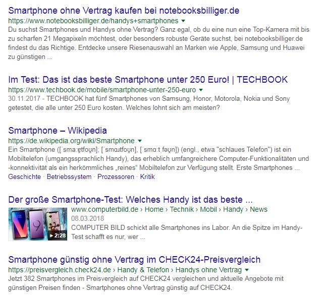 Screenshot Google Suche zu Smartphones