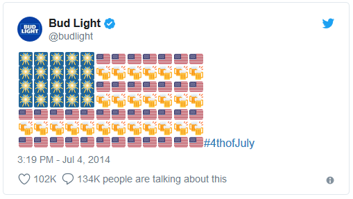 Twitterpost Amerikanische Flagge aus Emojis von Bud Light