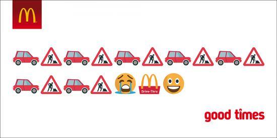 Emoji Werbeanzeige von McDonalds good times