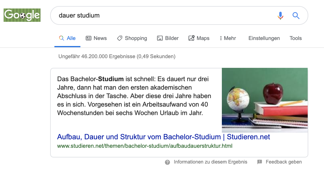 Google Text snippet Studium