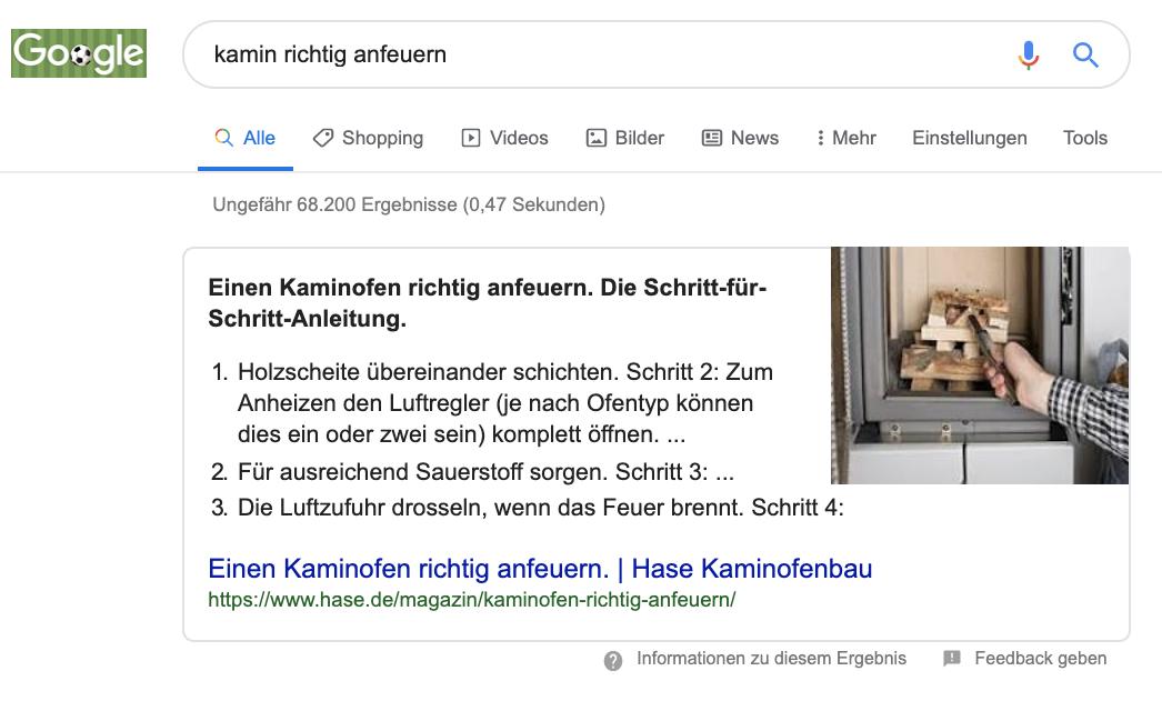 Google Liste Snippet Anleitung