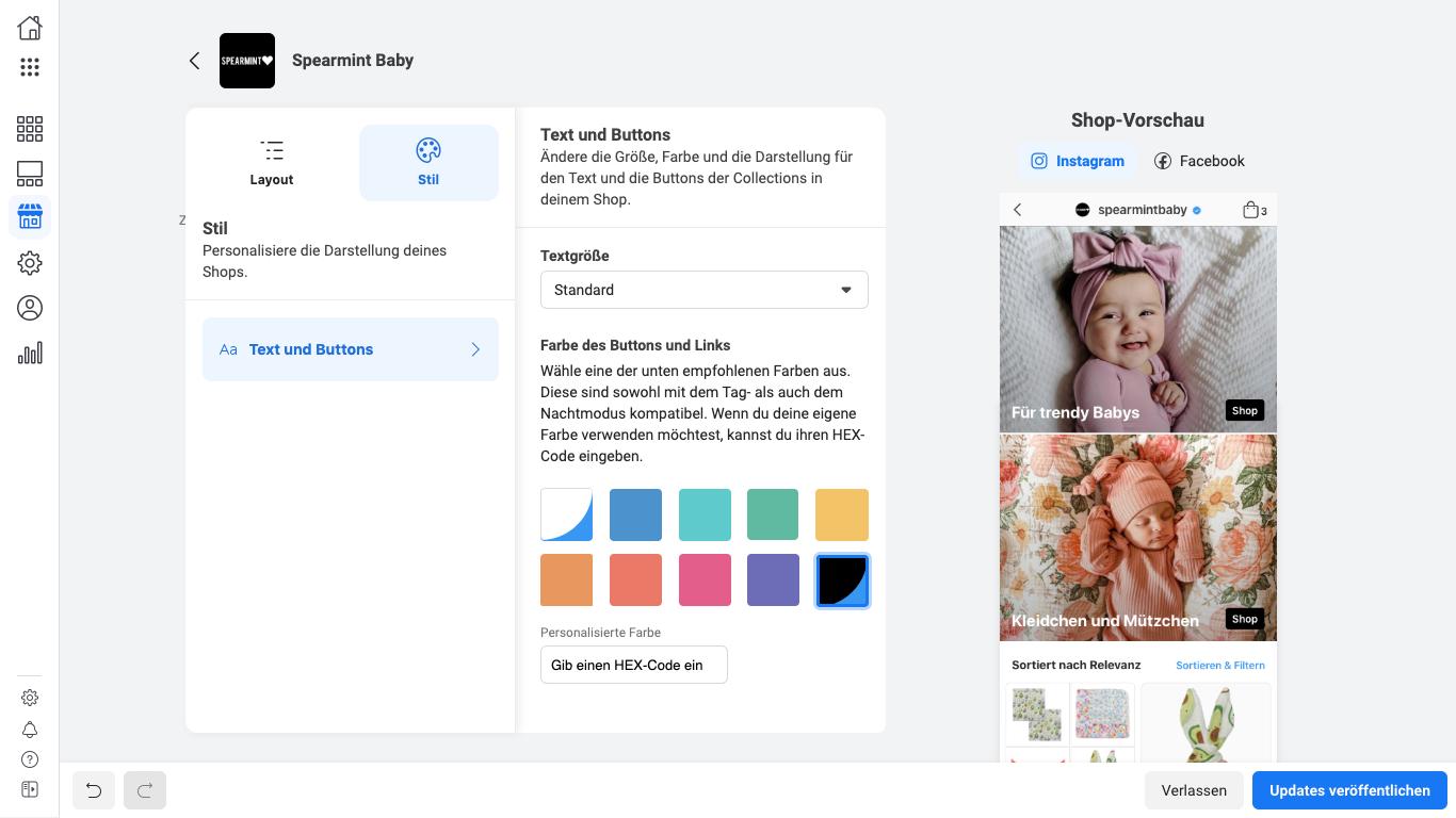 Facebook Shopt Beispiel Spearmint Baby - Theme Editing - de_DE