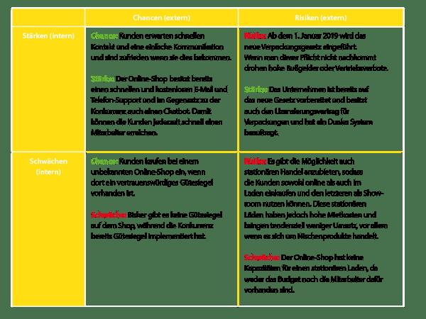 Beispiel SWOT-Matrix eines Online-Shops