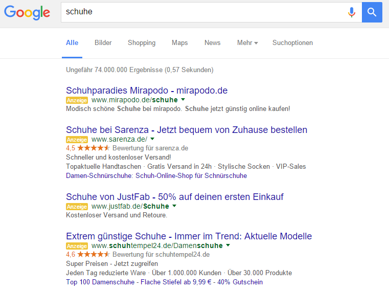 AdWords Anzeigen Top-Positionen