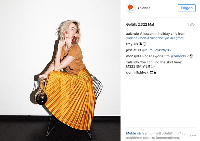 Instagram Marketing Beispiel von Zalando