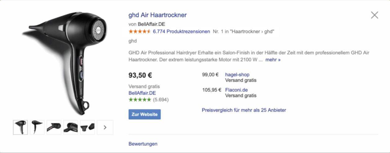 google_shopping_föhngoogle_shopping_föhnGoogle Shopping Produktpräsentation mit Produkt- und Verkäuferbewertung