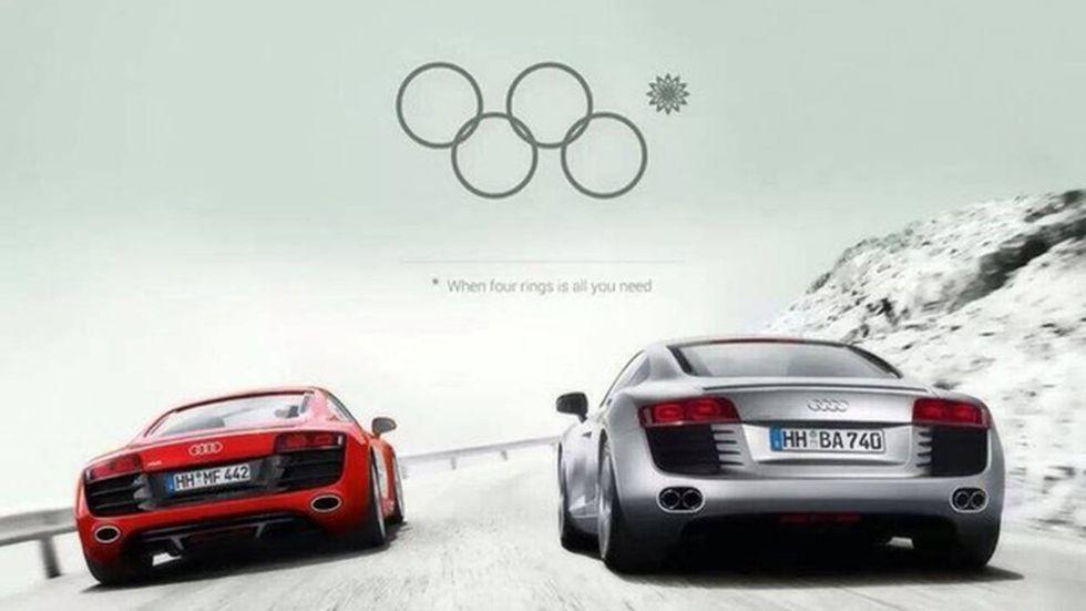 Audi Werbung mit Bezug auf die Olympischen Ringe