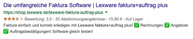 Google Rich Snippet Lexware